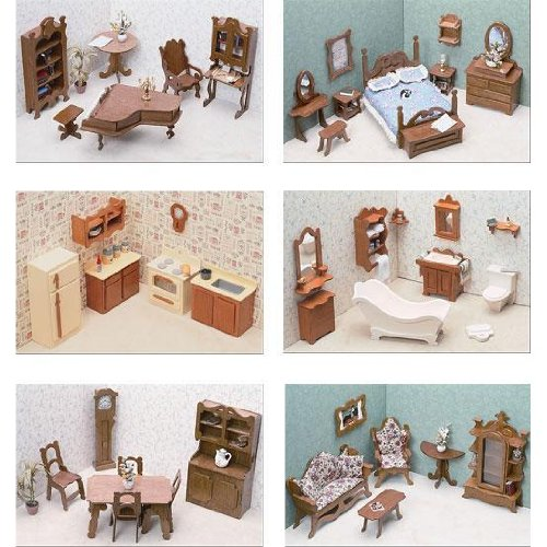 Greenleaf Doll Houses 6 Room Furniture Set (assembly required)
