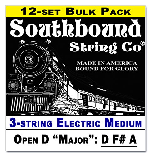 "12-Pack Electric ""Medium"" 3-String Cigar Box Guitar String Sets - Open D - D F# A"