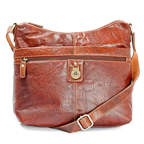 LADY'S REAL LEATHER HOBO BAG IN BROWN TAN RAWHIDE DESIGNER LEATHER CROSS BODY HANDBAG HANDMADE