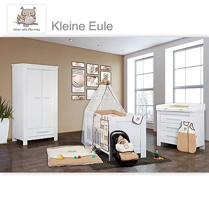 Babyzimmer Enni in weiss 9 tlg. mit 2 turigem Kl. + Textilien von Kleine Eule in Beige