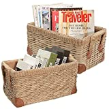 Set of 2 Beige Rustic Style Rectangular Woven Seagrass Storage Boxes / Decorative Organizer Baskets