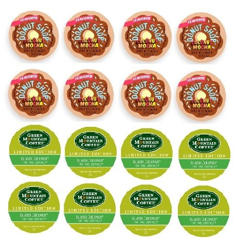 16 Count - Limited Edition Coconut Flavored Coffee K-Cups for Keurig Brewers - Green... by k cup mix
