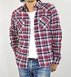 (ノーブランド品) ネルシャツ チェックシャツ 長袖 メンズ 4L 【5】RED×NAVY