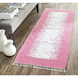 Safavieh Montauk Collection MTK711A Hand Woven Ivory and Pink Cotton Runner, 2 feet 3 inches by 9 feet (2\'3\
