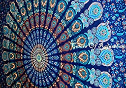 Multi-colored Mandala Tapestry Indian Wall Hanging, Bedsheet, Coverlet Picnic Beach Sheet , Superior Quality Hippie Wall Tapestry or Bedspread in Organic Cotton Tree of Life 95 x 85 Inches