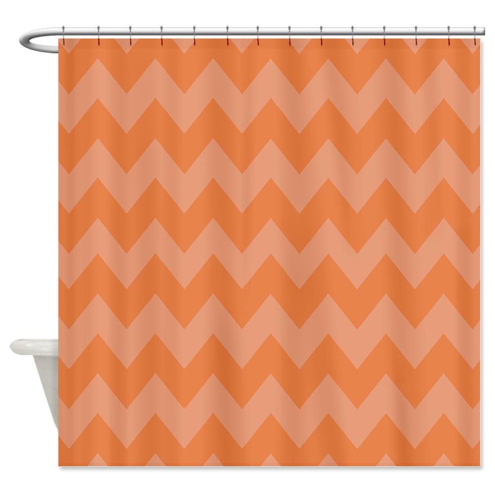 Orange Chevron Shower Curtain - Bathroom Decor