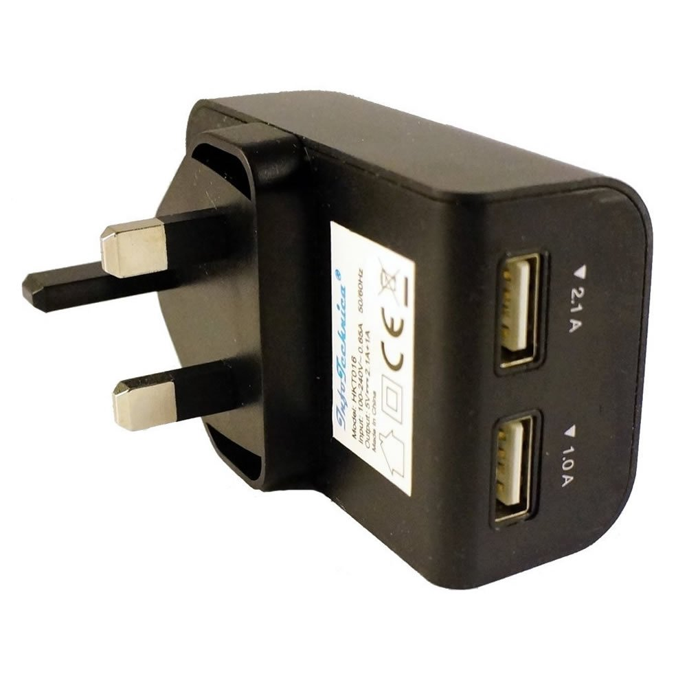 Black Universal 3.1A - 15W - 5V Dual USB Rapid Mains Charger Plug