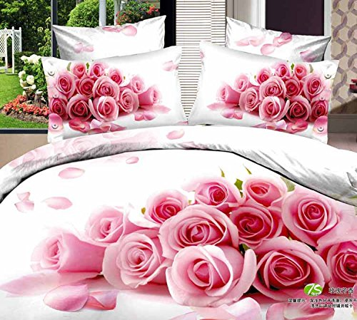 Queen King Size 100% Cotton 7-Pieces 3D Pink Roses White Floral Prints Fitted Sheet Set With Rubber Around Duvet Cover Set/Bed Linens/Bed Sheet Sets/Bedclothes/Bedding Sets/Bed Sets/Bed Covers/ Comforters Sets Bed In A Bag (King) front-687248