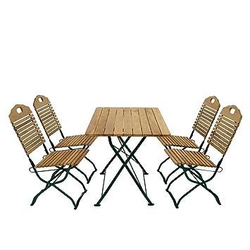 Esstisch mit Stuhlen fur Garten klappbar (5-teilig) Pharao24