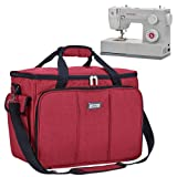 HOMEST Sewing Machine Carrying Case with Multiple Storage Pockets, Universal Tote Bag with Shoulder Strap Compatible with Most Standard Singer, Brother, Janome (Red) (Color: Red)