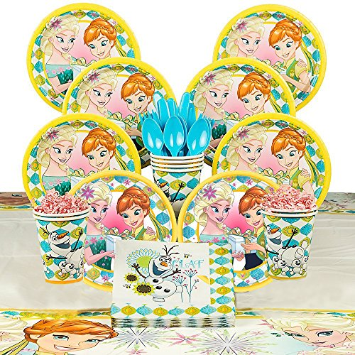 Frozen Fever Party Supply Kit - Serves 8 - Beverage Napkins, Luncheon Plates, Decorative Table Cover, Paper Cups, Plastic Spoons, Forks, Knives
