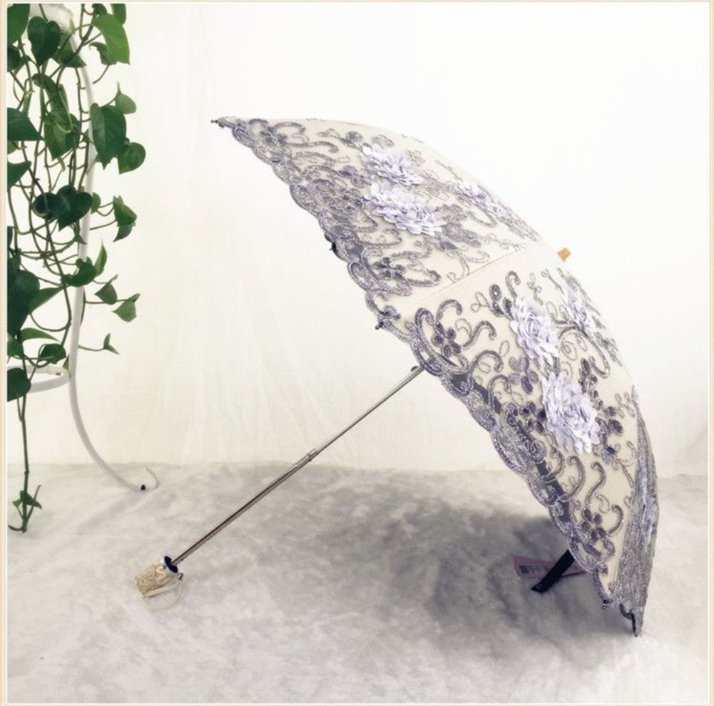 Honeystore Vintage Lace UV Sun Parasol Two Folding 3D Flower Embroidery Umbrella 2