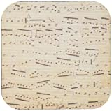 3dRose cst_120273_2 Grunge Musical Notes-Vintage Sheet Music-Yellowed Piano Notation-Pianist and Musician Gifts-Soft Coasters, Set of 8