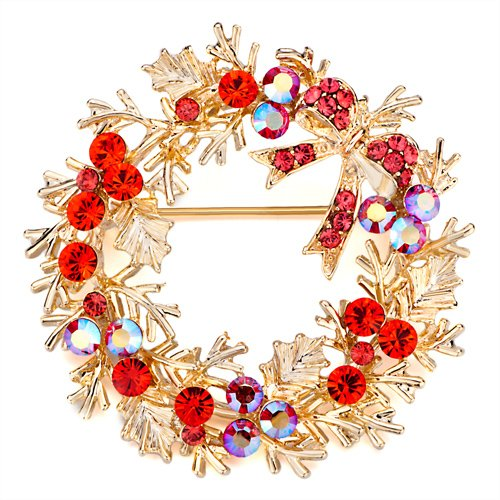 Christmas Gifts Pugster July Birthstone Red Crystal Flower Wreath Golden Brooches And Pins