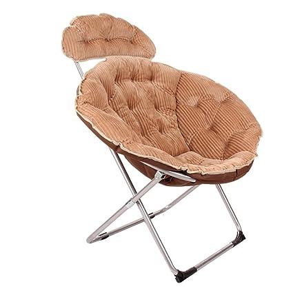 BZEI-Stuhl Großer erwachsener Sessel Faltbarer Mond-Stuhl Sun-Stuhl-Kordsamt-faules Sofa-rundes bewegliches Verstellbares (mehrfache Farbe) ( Farbe : Khaki )