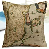Vintage Map Cotton Linen Throw Pillow Case Home Sofa Back Cushion Cover