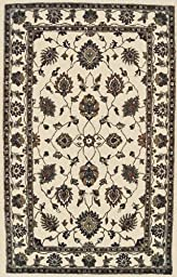 Area Rug, Ivory Traditional Bordered Soft Wool Carpet, 4-Foot X 6-Foot