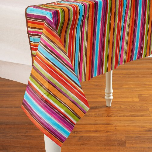 "Amscan Disposable Rectangular Paper Table Cover in Stylish Stripes Print Fits 8' Tables, 54 x 102"", Multicolor"