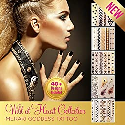 Aloha Sky Metallic Temporary Tattoo |  Festival flash tattoo for Ultra Music Festival, Coachella, Desert Hearts, Stagecoach | Golden Goddess Collection