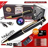 FabQuality Spy Pen 720p SPECIAL OFFER Hidden Camera BUNDLE 16GB SD Card, Real HD Voice Video & Image + Upgraded Battery + 5 ink Fills Inc + USB SD Reader. Executive Multifunction DVR Perfect Gift