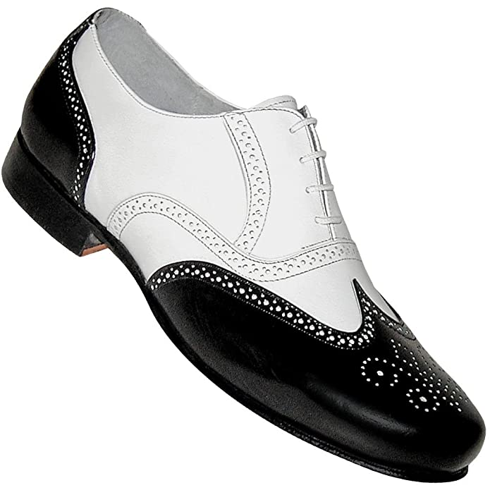 1940s Style Mens Shoes Mens 1930s Black and White Spat Style Wingtip Dance Shoe $79.95 AT vintagedancer.com