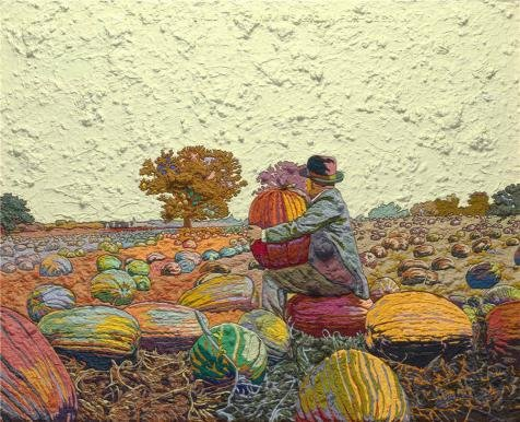 Oil Painting 'Jess,Figure 2-A Field Of Pumpkins Grown For Seed Translation,1965' 16 x 20 inch / 41 x 50 cm , on High Definition HD canvas prints, gifts for Bed Room, Home Office And Laundry Ro decor (The Italian Project 2a compare prices)