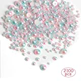yalansmaiP 2100 pcs ABS Gradient Imitation Pearls Half Round Pearl Beads Plastic Flatback Beads for DIY Craft Necklaces Bracelets Jewelry Making, Mixed Sizes 3/4/5/6/8 mm