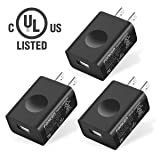 UL Certified USB Wall Charger, FONKEN 3-Pack 5V 2A Power Adapter universal travel Charger USB Plug Cell Phone Charger for Compatible iPhone, iPad, Google Nexus, Samsung, LG, HTC, Moto, Kindle and More (Color: 5V/2A-3Pack)