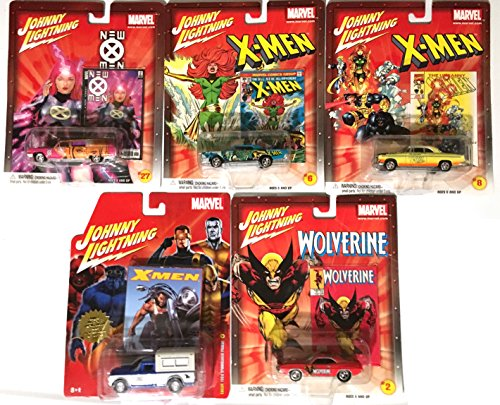 Marvel Johnny Lightning set of 5 Cars -X-men, Wolverine, Studebaker truck, Hemi Cuda, Cadillac Hearse, Chrysler + Continental pop culture comic book cars (Marvel Tire Cover compare prices)