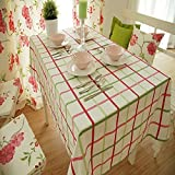 Ustide Rustic Garden Rag Tablecloth Vintage Strawberry Fruits and Floral Tablecloths Plaid Lace Decorative Dining Table Covers 55x90-Inch