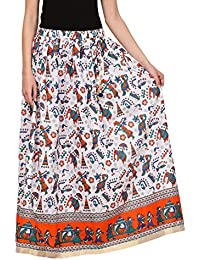 Saadgi Rajasthani Hand Block Printed Handcrafted Ethnic Lehnga Skirt For Women/Girls - B06XGG8X6B