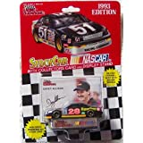 NASCAR #28 Davey Allison Texaco Havoline 1993 Racing Team Stock Car 1/64 1:64 Scale Diecast With Driver's Collectors Card And Display Stand. Racing Champions Red Background Black Series 51 Car