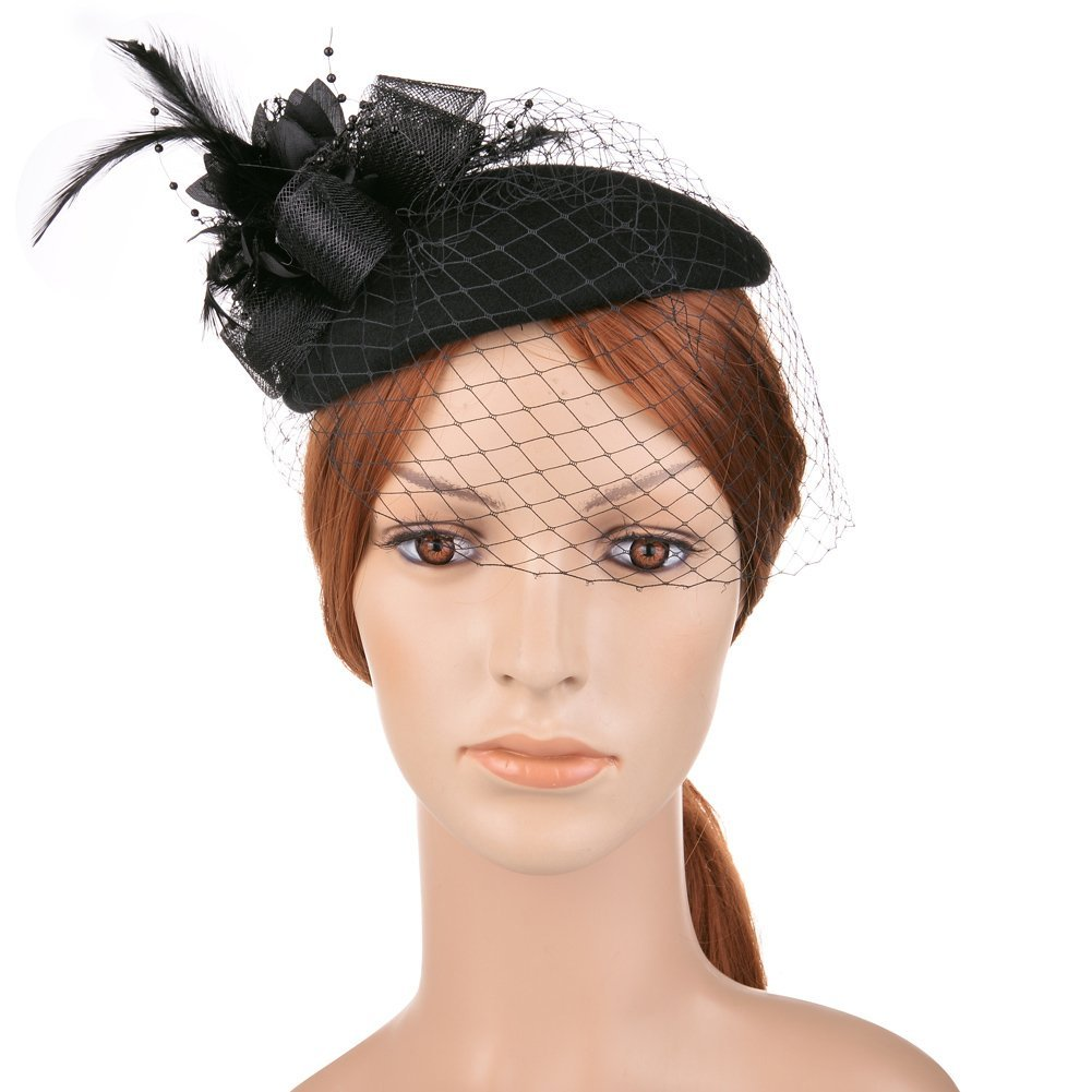 Vbiger Women's Fascinator Wool Felt Pillbox Hat Cocktail Party Wedding Bow Veil 0