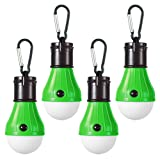 LED Camping Light [4 Pack] Doukey Portable LED Tent Lantern 4 Modes for Backpacking Camping Hiking Fishing Emergency Light Battery Powered Lamp for Outdoor and Indoor (Green) (Color: 4 Green, Tamaño: 4 Pack)