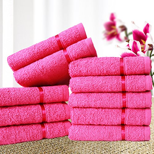 Story@Home Sensational Solid 10 Piece 450 GSM Cotton Face Towel Set - Pink