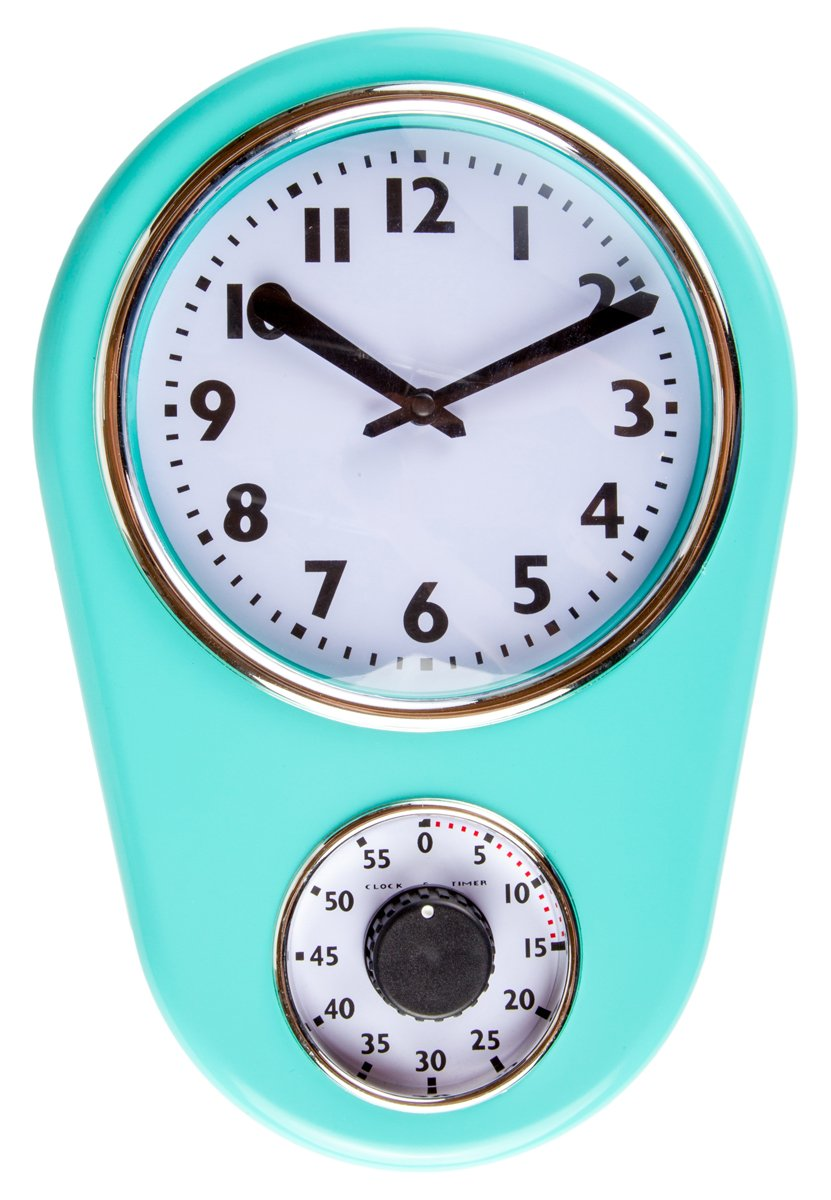 Retro Kitchen Timer Wall Clock Torquise By Lily S Home