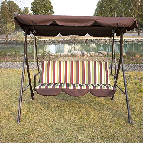Mother's Day Present Discount Outdoor 3-Person Canopy Swing Chair Patio Backyard Mesh Seat Beach Porch Furniture