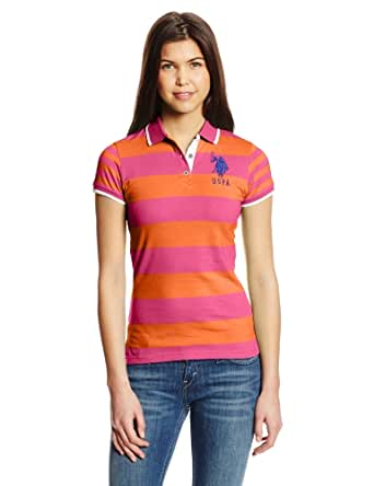 U.S. Polo Assn. Juniors Number 2 Inch Striped Polo, Pink Kite, Small