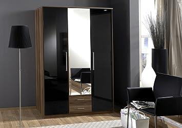 Milano Range 3 Door, 2 Drawer Wardrobe-Walnut/Gloss Black Finish