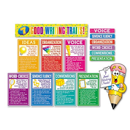 "Scholastic Products - Scholastic - 7 Good Writing Traits Bulletin Board Set, 12"" x 18"", 1 set - Sold As 1 Set - Guide students toward better writing with handy charts. - Cute pencil character draws kids in. - Defines good writing traits and provides checklist for students. - 16 pieces including charts, signs and banner. -"