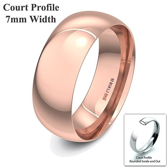 Xzara Jewellery - 9ct Rose 7mm Court Profile Hallmarked Ladies/Gents 6.1 Grams Wedding Ring Band
