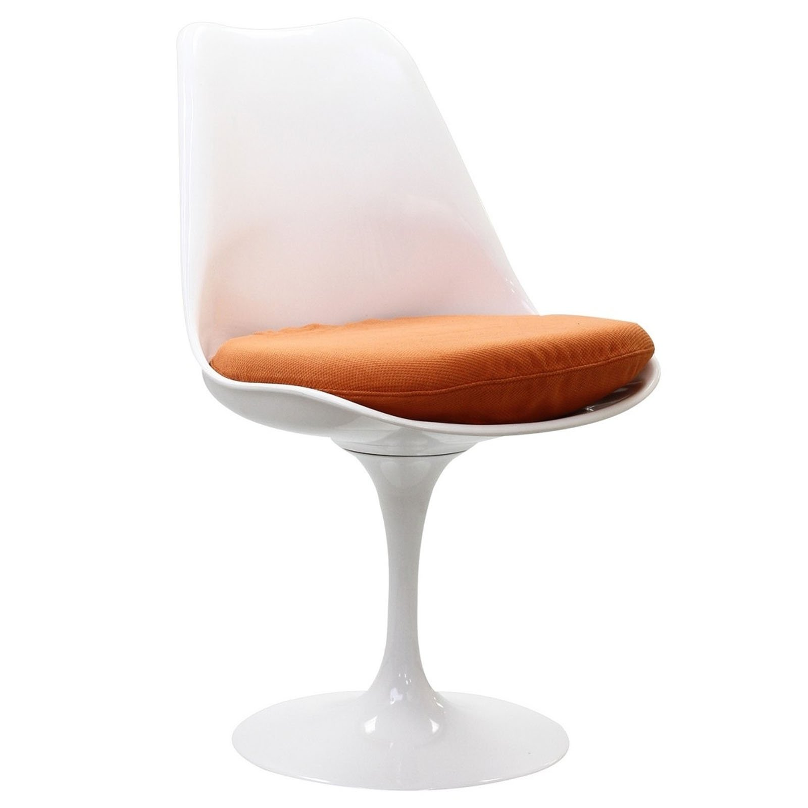 Lexmod eero saarinen style tulip side chair with orange cushion - Orange kitchen chair cushions ...