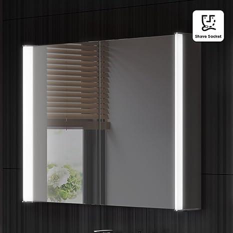 800 x 600 mm Illuminated LED Bathroom Mirror Cabinet with Shaver Socket MC140