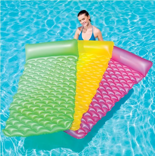 BESTWAY INFLATABLE FLOAT ROLL AIR MAT SLEEPING BED SUN POOL LOUNGER GARDEN LILO - YELLOW