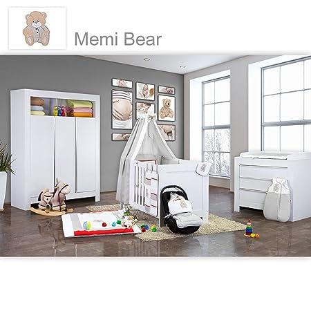 Babyzimmer Felix in weiss 21 tlg. mit 3 turigem Kl + Memi Bear in Grau