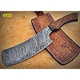 RK- CP-285, Damascus Steel 12.00 Inches Cleaver style Knife – Solid Rose Wood Handle (Color: Brown)