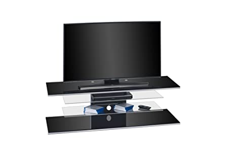 TV-Rack Fernsehständer von MAJA Möbel in Schwarzglas 140x40,5x45cm / TV-Halterung Lowboard