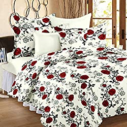 Casa Copenhagen- Basic 144 Thread Count 100% Cotton Double Bedsheet With 2 Pillow Cover- Red,White & Black