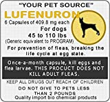 6 Generic Capsules of Lefenuron 409.8 mg. for dogs between 45 to 110 lbs.