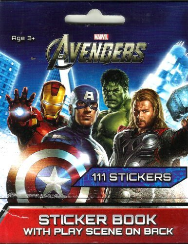 "AVENGERS STICKER BOOK (1 PACK - 111 STICKERS -WITH PLAY SCENE ON BACK) FOR COLLECTIONS (4"" X 3"")"